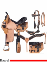 """13"""" to 16"""" Silver Royal Midnight Run Barrel Saddle Package 9sr274"""