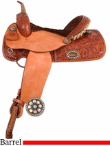 "** SALE ** 14"" 15"" Alamo Caramel Toast Floral Tooled Flex Barrel Pleasure Saddle 1244"