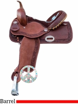 "** SALE ** 14"" 15"" Alamo Turquoise & Chocolate Cutout Inlaid Cross Seat Saddle 1204 1205"