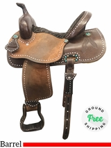 "14"" Used Cowboy Classic Saddlery Wide Barrel Racer uscc3913 *Free Shipping*"