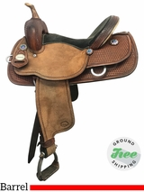 "14.5"" Used Crates Meleta Brown Wide Barrel Saddle 9230-1 uscr3879 *Free Shipping*"