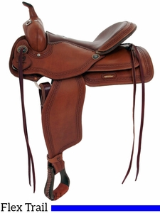 "** SALE ** 15"" to 17"" Alamo Flex Tree Greek Border Tooled Western Trail Saddle 1060"