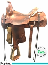 "15"" Used Courts Medium Roping Saddle 57033 usco3944 *Free Shipping*"
