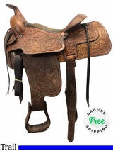 "15"" Used Tex Tan Hereford Medium Trail-Arena Saddle 112-67761 ustt4113 *Free Shipping*"