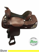 "15"" Used Tex Tan Medium Show Saddle ustt3629 *Free Shipping*"