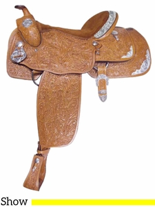 "** SALE ** 16"" Alamo Oakleaf-Tooled California Equitation Show Saddle 1002"