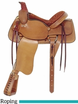 "16"" American Saddlery Basket Weave All Around Roping Saddle 754"