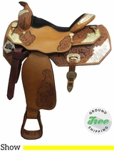 "16"" Used Big Horn Show Saddle, Wide Tree usbh3057 *Free Shipping*"