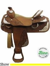 "16"" Used Double J Equitation Show Saddle, Wide Tree usdj3221 *Free Shipping*"