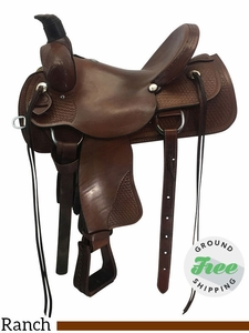 """16"""" Used Rocking R Wide Ranch Saddle usrr3708 *Free Shipping*"""