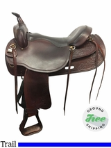 "17.5"" Used Big Horn Extra Wide Draft Trail Saddle 1683 usbh3813 *Free Shipping*"
