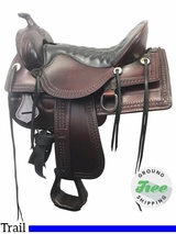 "SOLD 2017/10/23  17.5"" Used Tucker Old West Medium Trail Saddle 277 ustk3850 *Free Shipping*"