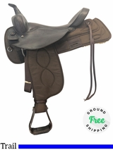 "17"" Used Big Horn Wide Trail Saddle 278 usbh4109 *Free Shipping*"