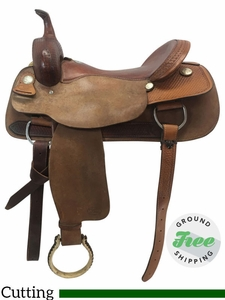 "17"" Used Billy Cook Wide Cutting Saddle 8942 usbi3782 *Free Shipping*"
