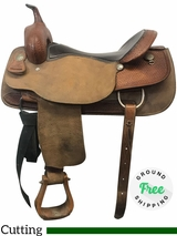 "17"" Used Billy Cook Wide Cutting Saddle 8942 usbi4035 *Free Shipping*"