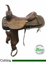 "17"" Used H&H Medium Cutting Saddle ushh3763 *Free Shipping*"