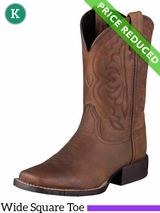 8 Ariat Kids Quickdraw Boots Wide Square Toe Distressed Brown 10004853 CLEARANCE