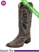 10C Women's Corral Brown/Black Wing & Cross Sequence Boots A1197 CLEARANCE