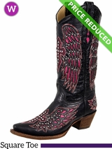 9C Women's Corral Black & Pink Winged Cross Boots With Studs & Crystals A1049 CLEARANCE