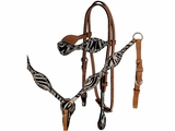 Alamo Scalloped Zebra Headstall with Crystal Spots