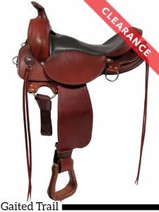 """SOLD 2017/02/01  17"""" Fabtron Gaited Wide Trail Leather Saddle 7764-s 7766-s CLEARANCE"""