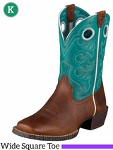 Ariat Kid's Crossfire Boots Wide Square Toe Brown Oiled Rowdy 10005989