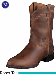 Ariat Men's Heritage Roper Boots Roper Toe Distressed Brown 10002284