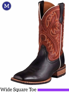 Ariat Men's Quickdraw Boots Wide Square Toe Black Deertan 10002221