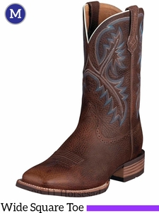 Ariat Men's Quickdraw Boots Wide Square Toe Brown Oiled Rowdy 10006714