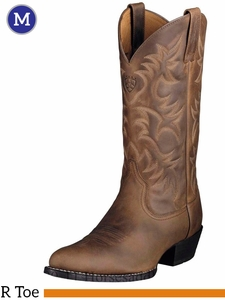 Ariat Men's Western Heritage R Toe Boots Distressed Brown 10002204