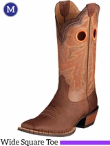 Ariat Men's Wildstock Boots Wide Square Toe Weathered Brown 10005876