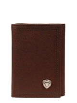 Ariat Mens Brown Leather Tri-Fold Wallet with Emblem A35122283