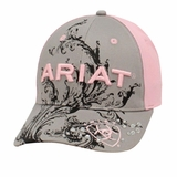 Ariat Pink/Gray Scroll Baseball Cap 1502606