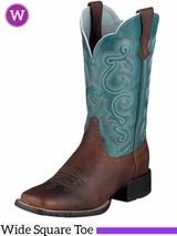 Ariat Women's Quickdraw Boots Wide Square Toe Brown Oiled Rowdy 10004720