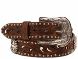 Ariat Womens Brown Belt with Crystal Conchos and Studs A1518602