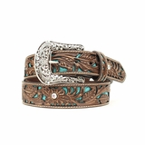 Ariat Womens Brown Belt with Turquoise Inlay A1513402