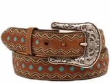 Ariat Womens Brown Zip Zag Turquoise Diamond Belt A1518202