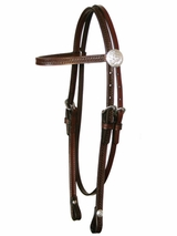 Basketweave & Acorn Tooled Browband Sagebrush Headstall by Circle Y 0125-71