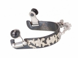 Black Steel Ladies Bumper Spurs with Engraved Floral Silver Overlay