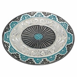 Black & Turquoise Detail with Floral Tooling Belt Buckle 1309 by Crumrine