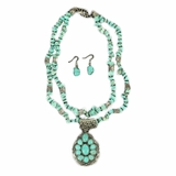 Blazin Roxx Turquoise Double Strand Teardrop Necklace Set 30444