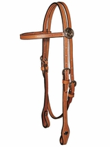 Circle Y Gunmetal Floral Headstall 0224-87