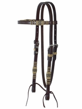 Circle Y Headstall BB-Rawhide Braiding with Stainless Steel -5/8� X0122-4001