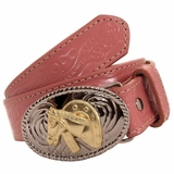 Girls Pink Belt with Floral Pattern by Nocona Belt Co 4410530
