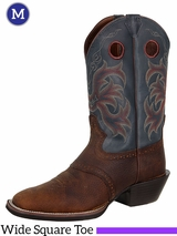 Justin Boots Men's Dark Brown Rawhide Boots 2520