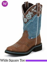 Justin Women's Brown Gypsy Boots w/ Dusty Blue Top L9950