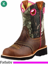 Kid's Ariat Rough Brown Fatbaby Cowgirl Boots 10008724