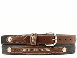 Kid's Western Belt with Conchos and Fabric Inset by Nocona Belt Co. n4415801