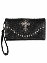 Leon Clutch Ostrich Cross Black Wallet N7527001
