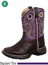 Li'l Flirt with Durango Girl's Brown Lacey Western Boot bt386 Sizes 3.5 - 6